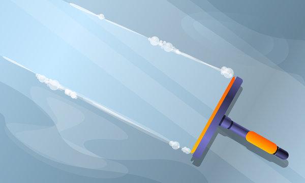 Window cleaning concept banner. Cartoon illustration of window cleaning vector concept banner for web design