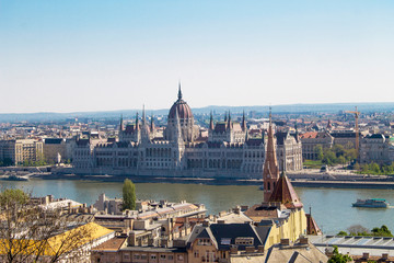 a view of the city  Budapest of  the Fisherman`s Bastion