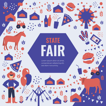 Vector detail illustration of State Fair. Event poster with food market, ferris wheel, farm animals, country fair. Design template for banner, brochure, invitation, landing page, print, flyer, advert.
