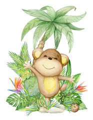 the monkey is cute, sitting under a palm tree. children's picture, watercolor, tropical plants and flowers.