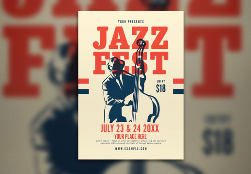 Jazzfest Flyer Layout with Bass Player Illustration
