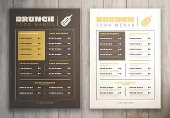 Brunch Food Menu
