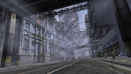 Fotomurales - 3D illustration of a street in the industrial area. Futuristic cityscape in cyberpunk style.