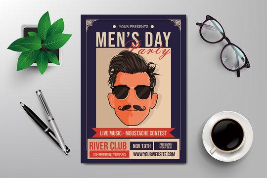 international men's day party flyer template, retro design