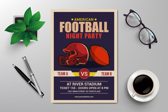 american football night party flyer template vector