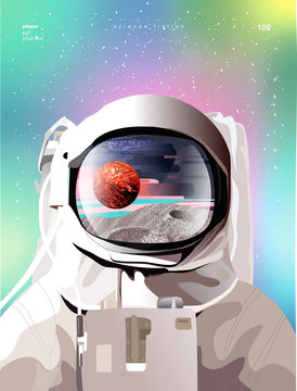 Vector illustration of a portrait of an astronaut in a spacesuit in space with planets, gradient abstract background for a poster, banner or cover