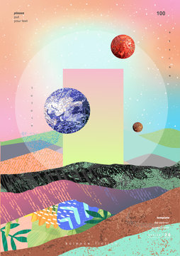 Vector abstract gradient illustration,  background for the cover of magazines about dreams, future, design and space, fancy, crazy poster