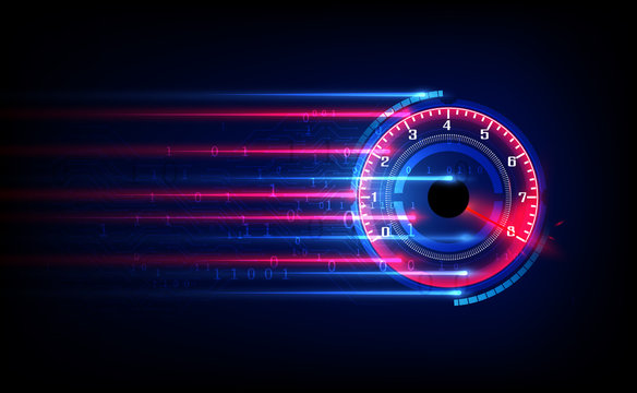 Download progress bar or round indicator of web speed. Sport car speedometer for hud background.  vector eps10