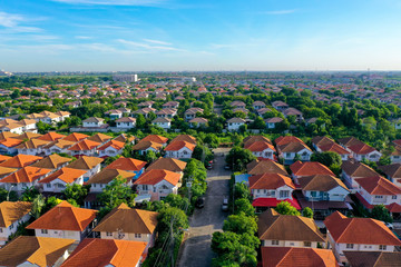 aerial view of beautiful home village and town settlement Wall mural