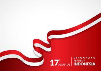 17 August 1945, Happy Indonesia Independent Day. Template of greeting card, banner with lettering of Happy Independent Day Waving Indonesia flags isolated on white background. vector illustration