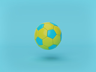 soccer ball isolated on pastel blue background. minimal concept. 3d rendering