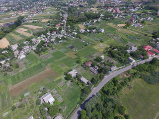 In de dag Khaki Aerial view of the Saburb landscape (drone image).Kiev Region