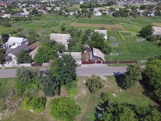 Printed kitchen splashbacks Khaki Aerial view of the Saburb landscape (drone image).Kiev Region