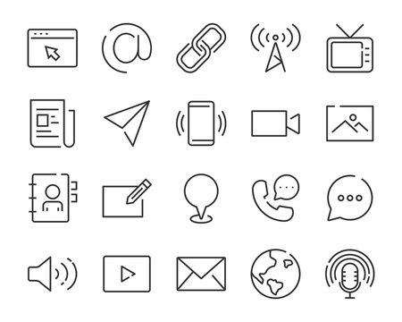 set of contact icon, such as address, phone, mail, social media