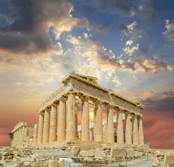 Fototapete - partheon athens greece sunset clouds sun