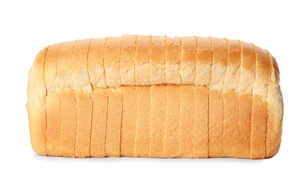 Sliced loaf of wheat bread isolated on white