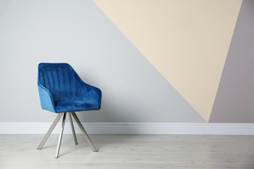 Blue modern chair for interior design on wooden floor at color wall Fototapete