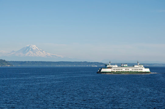 Seattle Ferry and Mt. Rainer
