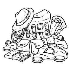 Adventurer pack lineart illustration for coloring. Treasure hunter comic style sketch. Archaeologist gold-digger backpack image