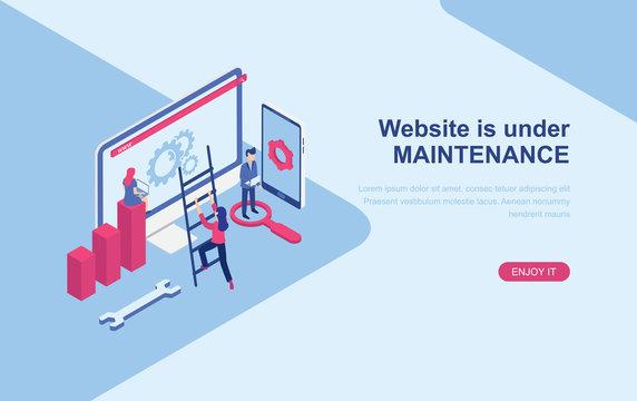 Website under maintenance page. Website error page. Flat isometric design vector illustration