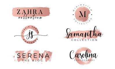 Feminine logo set in gold rose - Vector