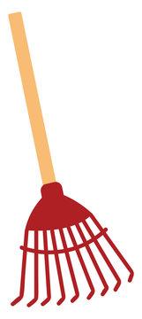 Red rake, illustration, vector on white background.