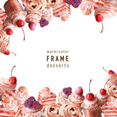 Background watercolor sweet desserts and treats