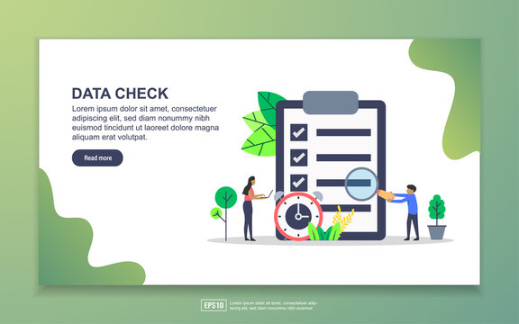 Vector illustration of data check concept with tiny people character. Easy to edit and customize