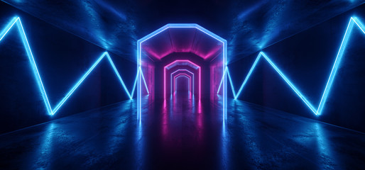 Futuristic  Sci Fi Laser Neon Shapes Glowing Light Vibrant Purple Blue Stage NIght Club Background Grunge Concrete Dark Tunnel Hall Corridor Garage Fashion Party Reflective 3D Rendering
