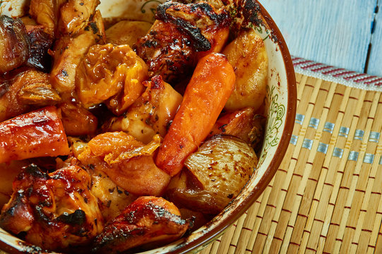 Apricot Glazed Chicken With Fingerling Potatoes