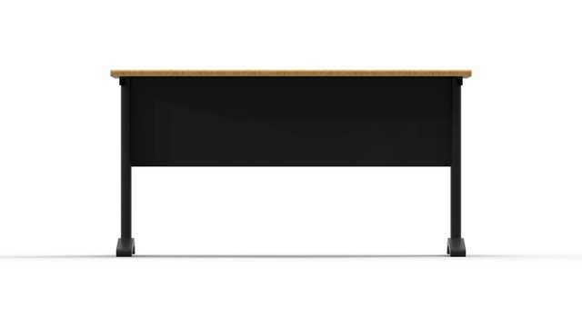 3d rendering of a wooden and metal desk isolated in white background