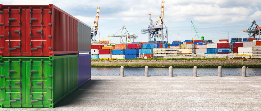 Cargo containers, harbor background. Import export, logistics concept. 3d illustration