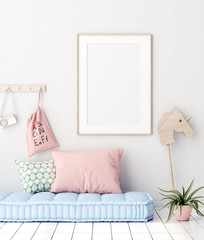 Mock up poster in kids bedroom interior background, Scandinavian style, 3D render