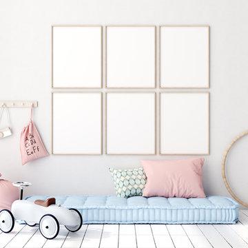 Mock up poster in kids bedroom interior background, Scandinavian style, 3D render