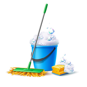 Realistic mop, sponge and bucket full of soapy foam with colorful bubbles. Floor mopping concept for housework design. Vector cleaning service banner. Domestic hygiene household chores 3d poster.