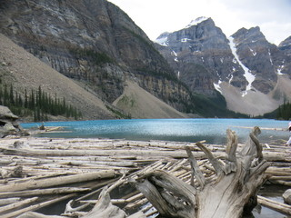 Moraine Lake with spinning drift wood, Canada