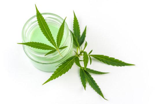 CBD Cannabis Hemp topical cream and balm with cannabis leaf isolated