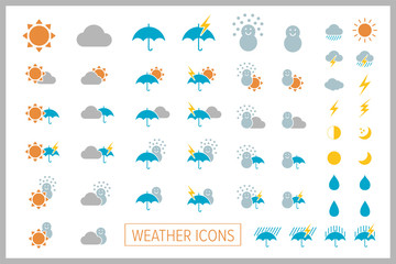 Set of simple weather icons. Vector.シンプル天気アイコン Wall mural