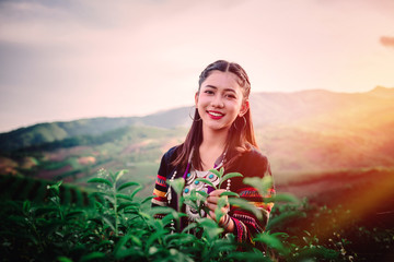 women and friend in tea farm