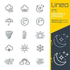 Obraz Lineo Editable Stroke - Weather and Meteorology line icons - fototapety do salonu