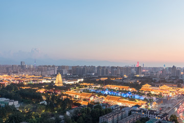 Wall Mural - beautiful xian cityscape in nightfall