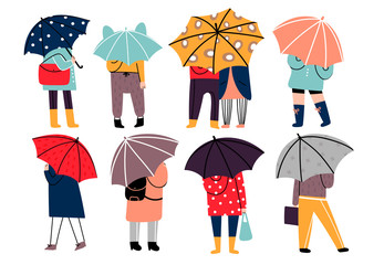 Autumn rainy weather. Hand drawn various stylish people standing under umbrellas in different clothes. Colored vector trendy illustration. Flat design. All elements are isolated