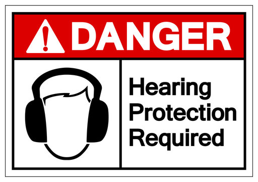 Danger Hearing Protection Required Symbol Sign, Vector Illustration, Isolate On White Background Label. EPS10