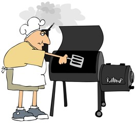 Man in shorts cooking on a smoker grill