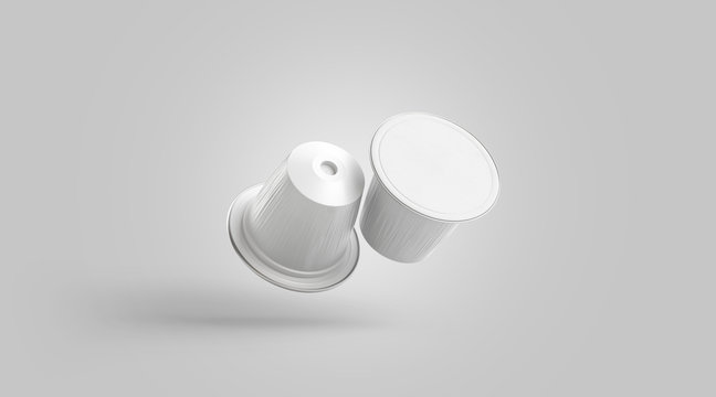 Blank white plastic coffee capsule mock up, no gravity, isolated, 3d rendering. Empty disposable espresso box mockup. Clear vacuum packet with sauce or cream template.