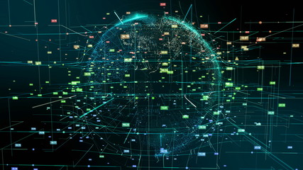 Planet Earth Cyberspace Particle Abstract Motion. Digital Continents Hologram Colorful Fly Dots Data World Network Map. Planet Rotation Outer Space Exploration Business Concept 3D Rendering Animation