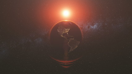 Wall Mural - Earth Orbit Rotation Reverse Bright Red Sun Beam. Celestial Globe World Map Starry Universe Galaxy Constellation Universe Exploration Concept 3D Animation