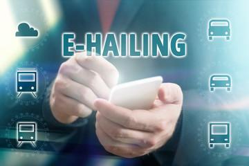 Concept Photo of Businessman Using E-Hailing App