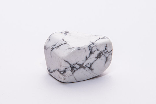 Black and white howlite gemstone with beautiful texture isolated