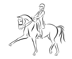 Sketch of a dressage rider on a horse executing the expression trot